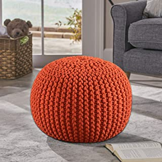 Frenish Décor Hand Knitted Cotton Ottoman Pouf Footrest 20x20x14 INCH, Living Room Accent seat (Orange)