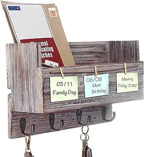 Kakivan Rustic Wood Wall 4 Key Holder Hooks Memo Clips, Entryway Organizer for Letter Mail Holder, Magazine Holder and More.