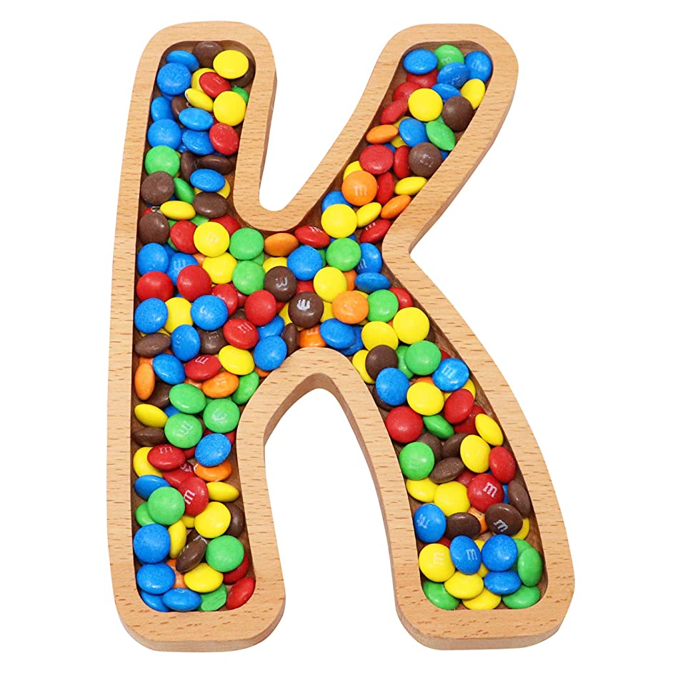 Wooden Letter K Candy Dish | Monogram Nut Bowl | Snack, Cookie, Cracker Serving Plate | Decorative Display, Home Accessory | Unique Gift Idea | for Date, Baby Shower, Birthday Party | Large Size