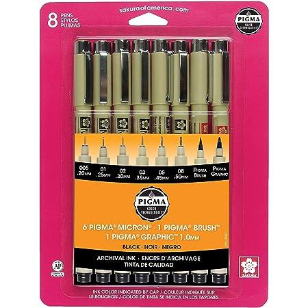 Black Sakura Pigma 30067 Micron Blister Card Ink Pen Set 8//Set-2 Pack
