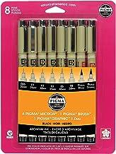 Sakura Pigma 30067 Micron Blister Card Ink Pen Set, Black, 8/Set