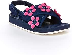 carter's Girls' Felicia Flower Embellished Sandal with Adjustable Strap, Navy, 10 M US Toddler