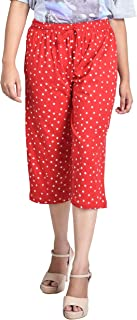 GHUNGUR Cotton Capri for Womens Free Size Red