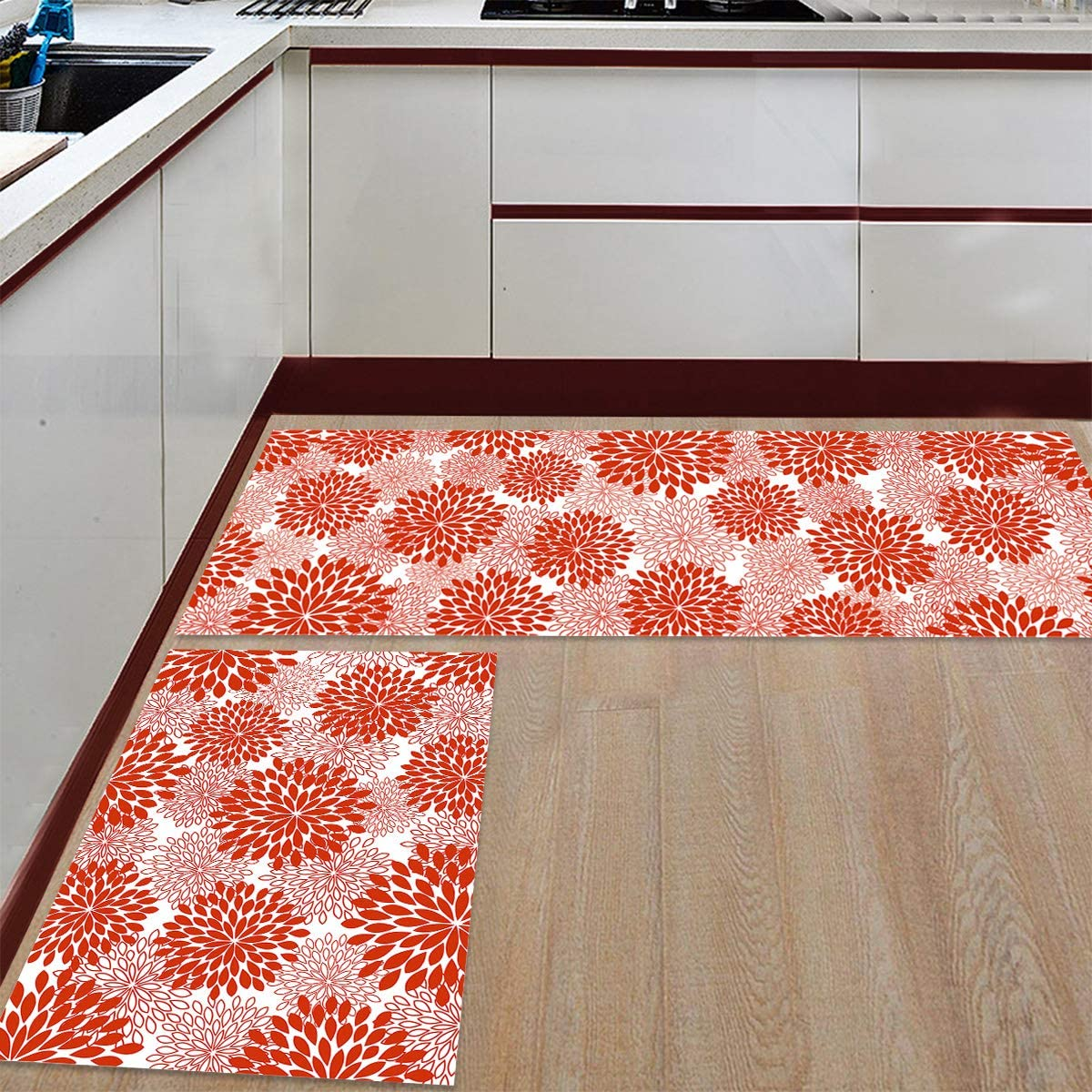Prime Leader OFFicial shop Kitchen Mat and Rugs Flower of Ranking TOP10 Abstract Patt Set 2