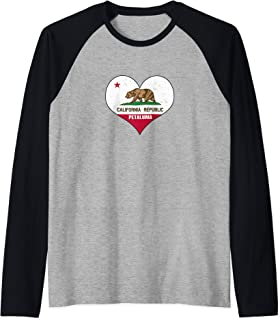 I Love Petaluma, California - CA Republic Flag Heart Raglan Baseball Tee