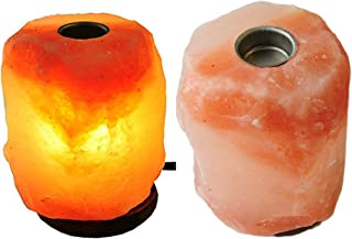 2 Large Himalayan Rock Salt Lamp Pink Salt Crystal Natural Hand Carved Decor Lighting Dimmable with Small Plate to Diffuse Essential Oils, JIC Gem