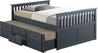 Broyhill Kids Marco Island Full Captain's Bed with Trundle, Gray Full-Sized Bed with Twin-Sized Trundle, Bunk Bed Alternative, Great for Sleepovers, Underbed Storage/Organization