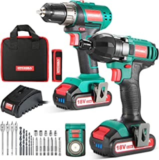 18V Combi Drill Kit, HYCHIKA Electric Drill 35Nm and Impact Driver 160Nm, 2X2.0Ah Batteries, Belt Buckle, LED Light, with ...