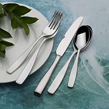 Mikasa 5081298 Satin Loft 65-Piece 18/10 Stainless Steel Flatware Set with Serving Utensil Set, Service for 12