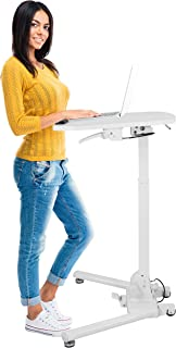 Mount-It! Standing Folding Laptop Cart, Sit Stand Mobile Desk with Height Adjustable 31.1