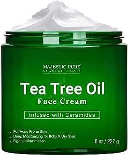 کرم صورت Tea Tree Oil توسط Majestic Pure - آغشته به سرامیدها ، برای مراقبت از پوست مستعد آکنه - لوسیون مرطوب کننده ، شکستگی و قارچ ، 8 اونس