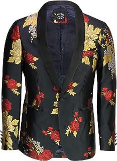 Xposed Mens Gold Floral Damask Print Black Dinner Jacket Smart Tailored Fit Retro Blazer[TUX-40982-BLACK,Black,52]
