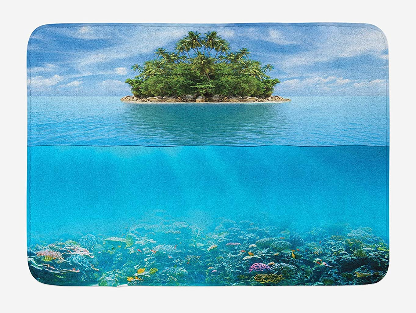 何十人もせっかちバレエAmxxy 海の孤独な島には、密林のエキゾチックな植物や動物や植物がありますモダンなバスルームの家の装飾ノンスリップバスマットドアマットフランネル素材屋外ドア装飾ルーム