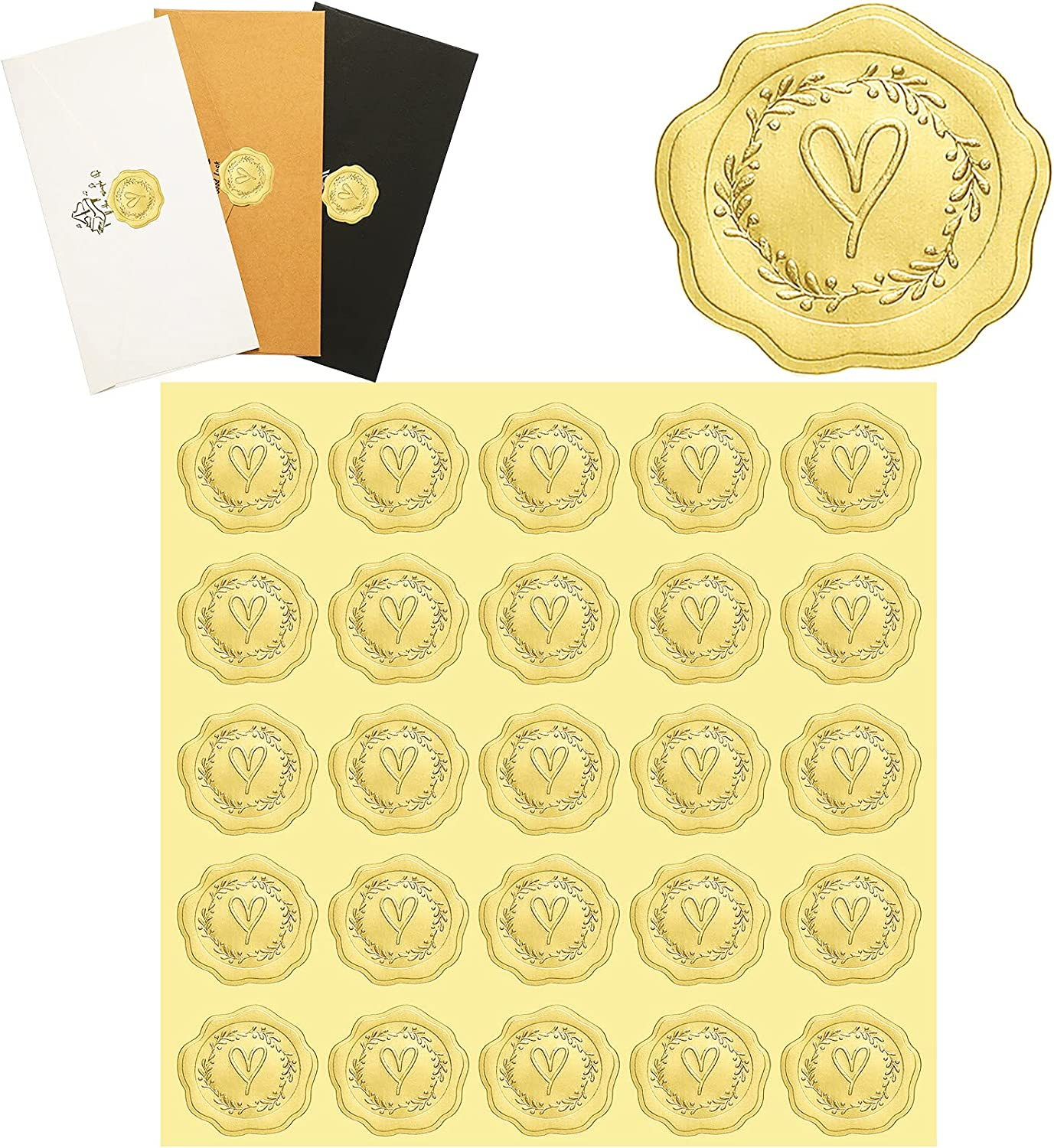 350 Pieces Gold Embossed Wax Seal Looking Self-Adhesive Heart Envelope Seals Stickers for Wedding Invitations, Greeting Cards, Party Favors, Gift Packaging