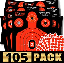 105-PACK Shooting Targets, High-Visibility Fluorescent Orange Makes it Easy to See Your Shots Land, Heavy-Duty Silhouette Paper Sheets - 150 Free Repair Stickers, Close to Wholesale Prices.