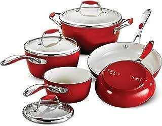 Tramontina 80110/201DS Gourmet Ceramica Deluxe Cookware Set, PFOA- PTFE- Lead and Cadmium-Free Ceramic Exterior & Interior, 8-Piece, Metallic Red, Made in Italy