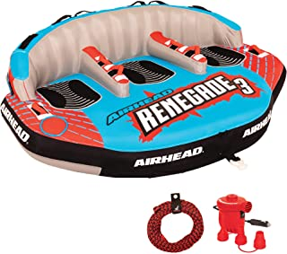 Airhead AHRE-503 Renegade Big 3 Person Inflatable Towable Water Tube Seat Rider Boating Tubing Kit with Boat Pull Rope and...