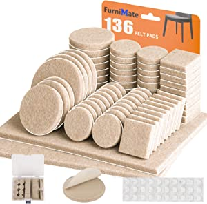 Furniture Pads 136 Pieces Pack Self Adhesive Felt Pad Beige Felt Furniture Pads 5mm Thick Anti Scratch Floor Protectors for Chair Legs Feet with Case and 30 Rubber Bumpers for Hardwood Tile Wood Floor