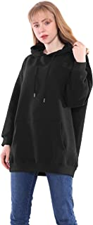 Germinate Larga Sudaderas con Capucha Mujer Casual Anchas Negro Blanco Forro Polar Jersey Vestir Ropa Talla Grande Oversize