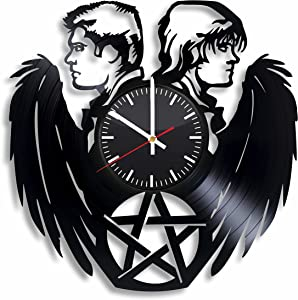 12 Inch Supernatural Vinyl Record Clocks - Silent Non-Ticking and Numberless – Supernatural Home Décor for Wall Decoration - DIY Supernatural Merchandise for TV Show Fans (Black)