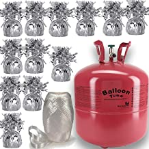 "Helium Tank + 12 Balloon Weights, 5.5"", 5.7 oz + White Curling Ribbon 