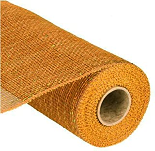 10 inch x 30 feet Deco Poly Mesh Ribbon (Gold/Brown with Laser Gold Foil) : RE130163