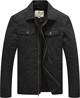 WenVen Men's Spring Washed Cotton Military Jackets Outerwear