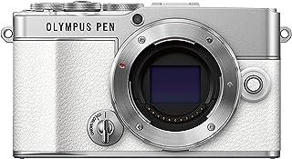 Olympus Pen E-P7 Micro-Four-Thirds-Systemkamera, 20-MP-Sensor, 5-Achsen-Bildstabilisation, neigbarer und hochauflösender LCD-Bildschirm, 4K-Video, Wi-Fi, Farb- und Monochromprofilsteuerung, weiß