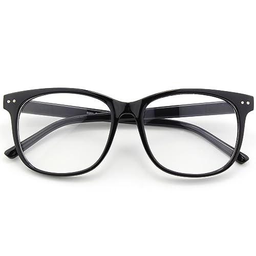 f9d7d16d8f Happy Store CN81 Large Oversized Bold Frame UV 400 Clear Lens Horn Rimmed  Glasses