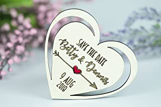 Heart Save the Date Magnets Wooden Engraved Favors 50Pcs