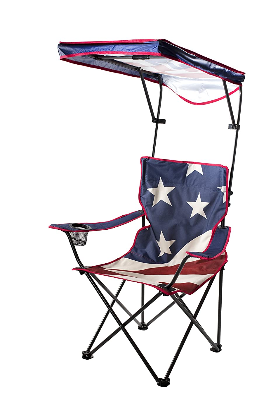 Quik Shade Adjustable Canopy Folding Shade Chair, American Flag ue19792514