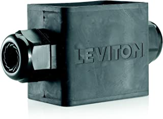 Leviton 3059F-2E Portable Outlet Box, Single-Gang, Standard Depth, Feed-Thru Style, Cable Diameter 0.590-Inch 1.000-Inch, Black