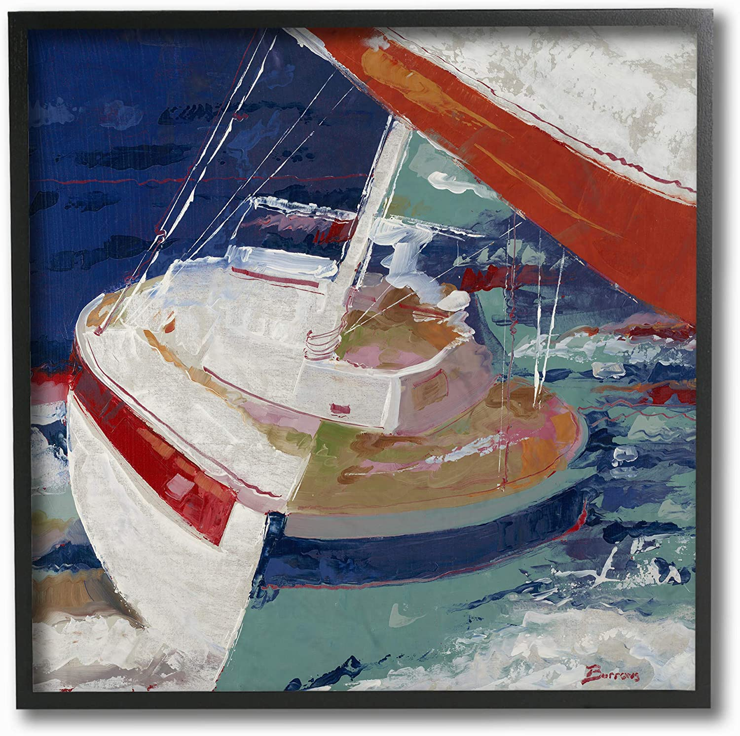 Stupell Industries Home Red White and bluee Sailboat Rocking in The Ocean Close Up Painting Framed Giclee Texturized Art, Multi-color