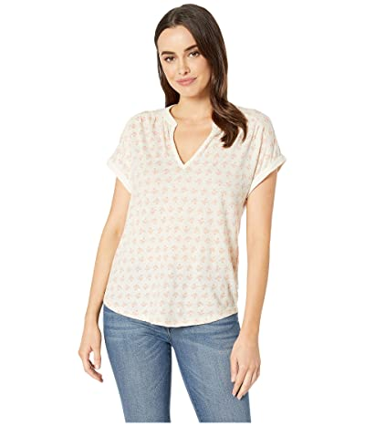 Lucky Brand Printed Notch Neck Top (Natural Multi) Women