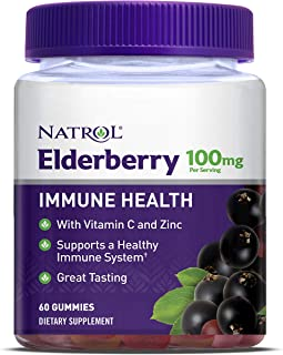Natrol Elderberry Gummy, Supports Immune Health with Vitamin C and Zinc, 60 Count