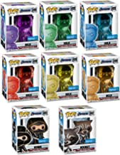 Funko The Ultimate Infinity Stones Collector's Set POP! Marvel: Exclusive Chrome Hulk Infinity Stone Set 499 (6 Colors) + Ronin 465 + Rocket 462 (MEGA 8 Pack Store Exclusive Bundle)