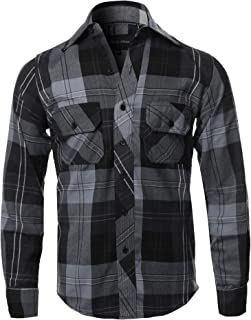 Men's Casual Plaid Flannel Woven Long Sleeves Button Down Shirt