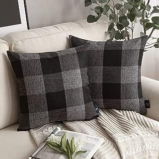 Phantoscope Pack of 2 Christmas Buffalo Checker Plaid Throw Pillow Covers Farmhouse Decorative Cushion Case Square Pillowcase for Sofa Bedroom Car Black and Grey 18 x 18 inches 45 x 45 cm