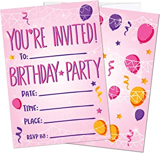 Birthday Party Invitations for Girls, Kids | 25 Invite Cards with Envelopes | Party Supplies