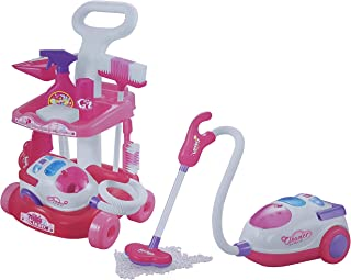 Girls Cleaning Vacuum Cleaner Fun Role Play Toy PINK with Light Sound Cleaning trolley with vacuum cleaner set pretend toy