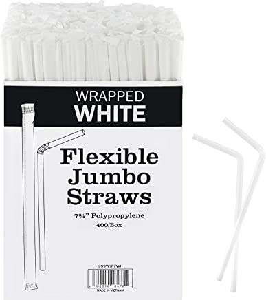 Plastic white flexible Drinking Straws Bulk 400 Bulk , Individually Wrapped Disposable White Straws 7.75 Inches Long