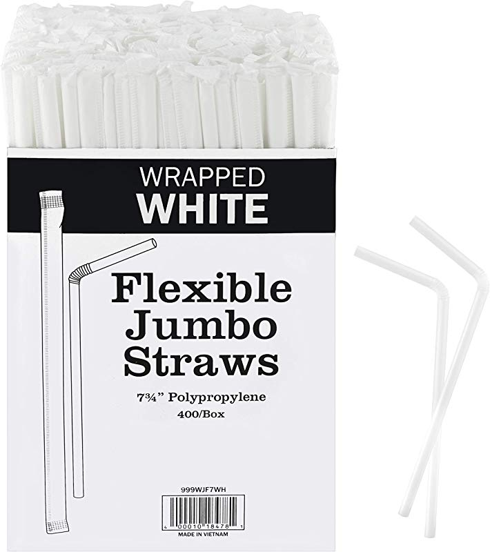 Netko Plastic White Flexible Drinking Straws Bulk 400 Bulk Individually Wrapped Disposable White Straws 7 75 Inches Long BPA Free Food Safe And Commercial Grade