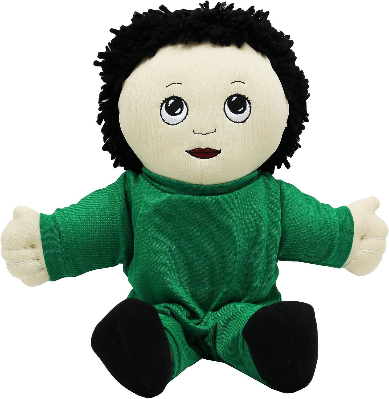 Asian bambola di pezza ragazzo in tuta verde
