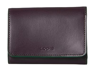 Lodis Accessories Audrey RFID Mallory French Purse (Deep Plum/Ivy) Wallet Handbags