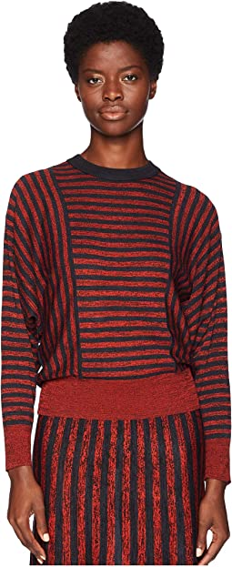 Cotton Silk Mouline Stripes Long Sleeve Sweater