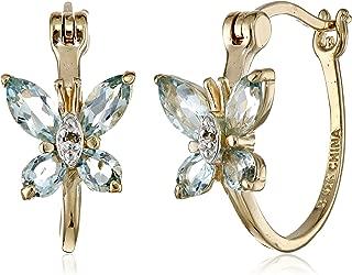18k Yellow Gold-Plated Sterling Silver Butterfly Hoop Earrings