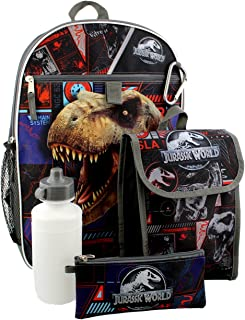 Jurassic World Boys 5 piece Backpack and Snack Bag Set
