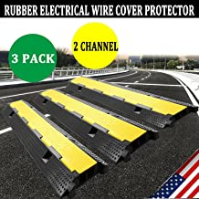 Zbond 3 Pack Extreme Rubber Cable Protectors Dual Channel Cable Protector 12000LB Rubber Speed Bump cable ramps / protectors (3 Pack)