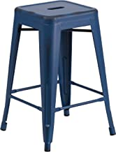 Flash Furniture 24'' High Backless Distressed Antique Blue Metal Indoor-Outdoor Counter Height Stool