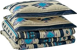 Chezmoi Collection 3-Piece Southwestern Geometric Tribal Multicolor Teal Beige Black Gray Comforter Set, Queen Size